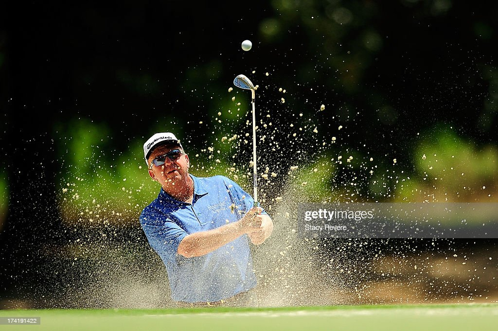 Billy Mayfair hits his third shot on the 16th hole during the final round of the Sanderson Farms Championship at Annandale Golf Club on July 21 2013...