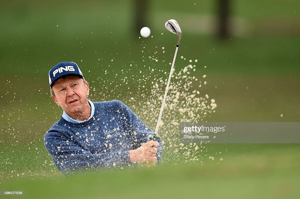 Billy Mayfair hits his third shot on the eighth hole during the final round of the Sanderson Farms Championship on November 9 2015 in Jackson...