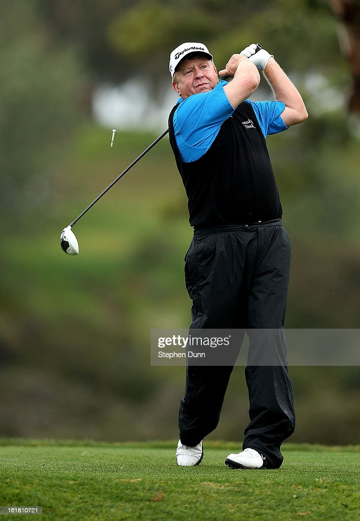 Billy Mayfair hits is tee shot on the fifth hole during the second round of the Farmers Insurance Open on the South Course at Torrey Pines Golf...
