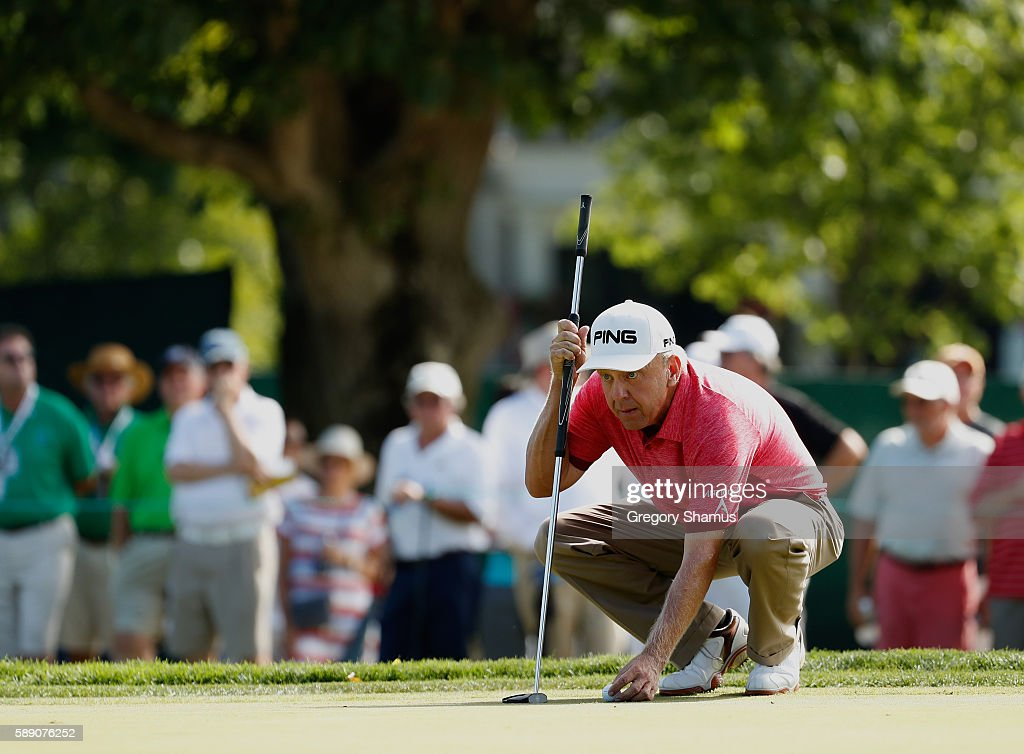 Billy Mayfair lines up a putt on the fourth green during the third round of the 2016 US Senior Open at Scioto Country Club on August 13 2016 in...