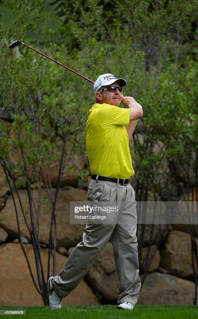 Billy Mayfair makes a tee shot on the fifth hole during the first round of the Barracuda Championship at the Montreux Golf and Country Club on July...