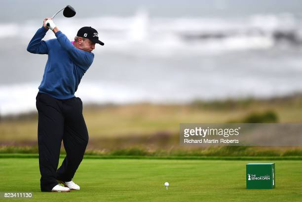 Billy Mayfair of the United States tees off on the 3rd hole during the first round of the the Senior Open Championship presented by Rolex at Royal...