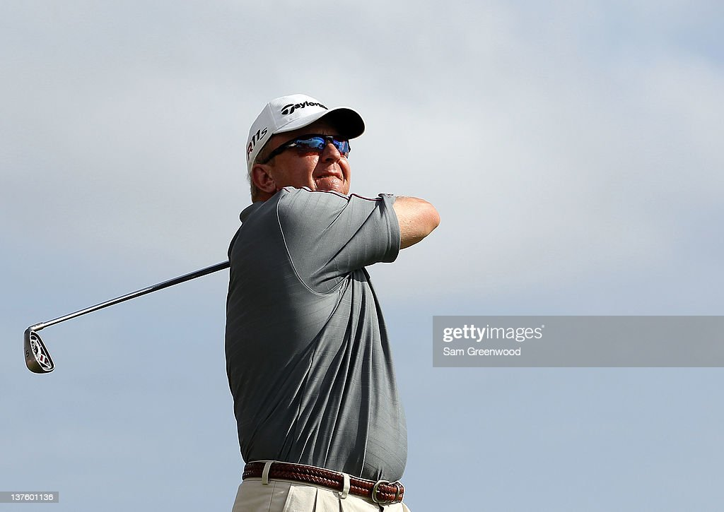 Billy Mayfair plays a shot during the final round of the Sony Open in Hawaii at Waialae Country Club on January 15 2012 in Honolulu Hawaii