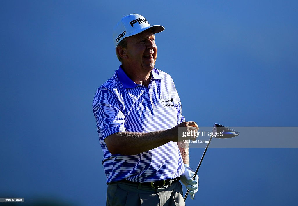 Billy Mayfair plays his shot from the ninth tee during round one of the Puerto Rico Open presented by Banco Popular at Trump International Golf Club...