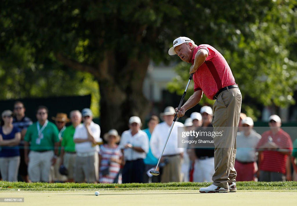 Billy Mayfair putts for birdie on the fourth green during the third round of the 2016 US Senior Open at Scioto Country Club on August 13 2016 in...