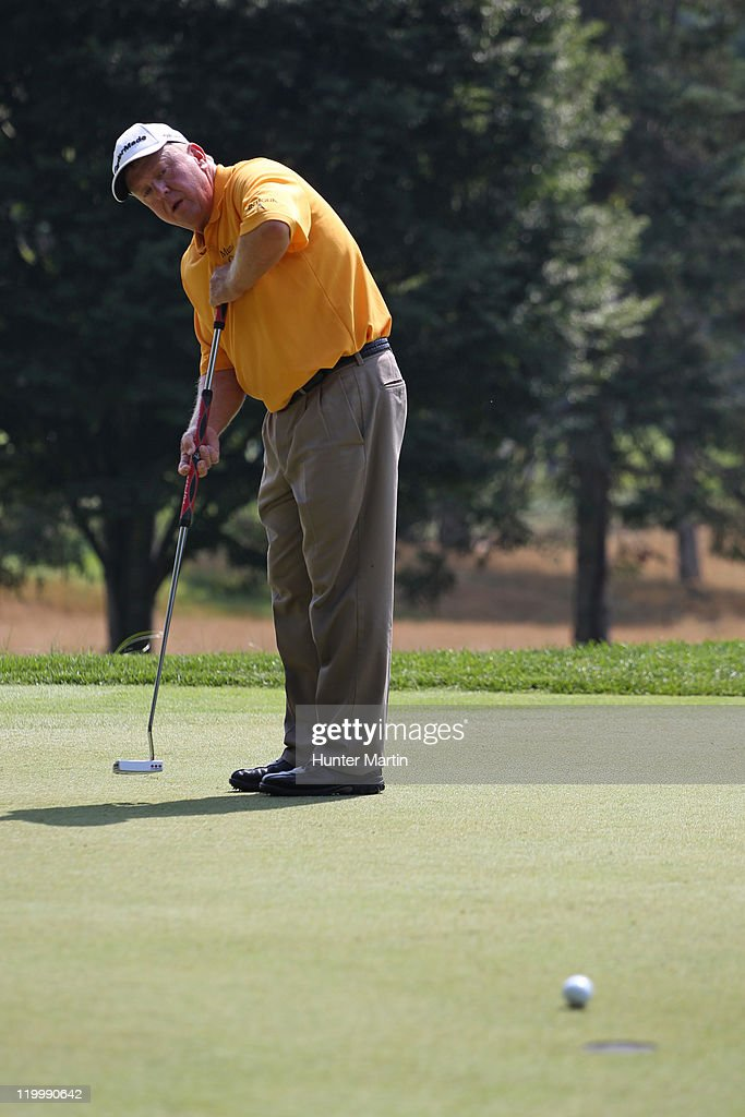 Billy Mayfair putts for birdie on the sixth hole during the first round of The Greenbrier Classic at The Old White TPC on July 28 2011 in White...