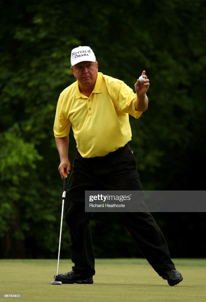 Billy Mayfair reacts to holing a birdie putt on the 13th green during the third round of the Quail Hollow Championship at Quail Hollow Country Club...
