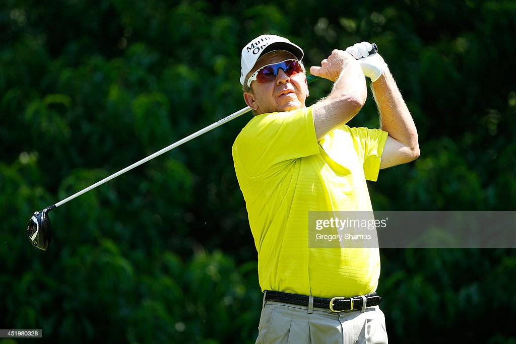 Billy Mayfair tees off on the second hole during the first round of the John Deere Classic held at TPC Deere Run on July 10 2014 in Silvis Illinois