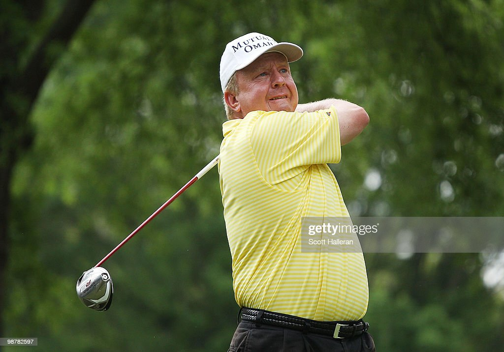 Billy Mayfair watches his tee shot on the fourth hole during the third round of the 2010 Quail Hollow Championship at the Quail Hollow Club on May 1...