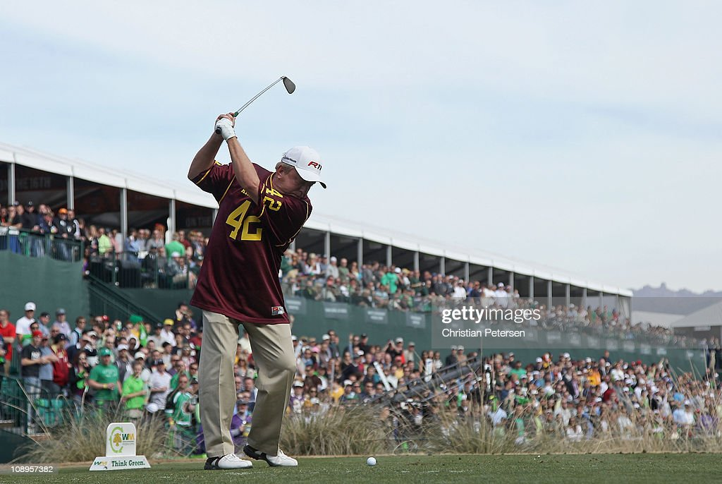Billy Mayfair wearing a Pat Tillman ASU Sun Devils jersey hits a tee shot on the 16th hole during the second round of the Waste Management Phoenix...
