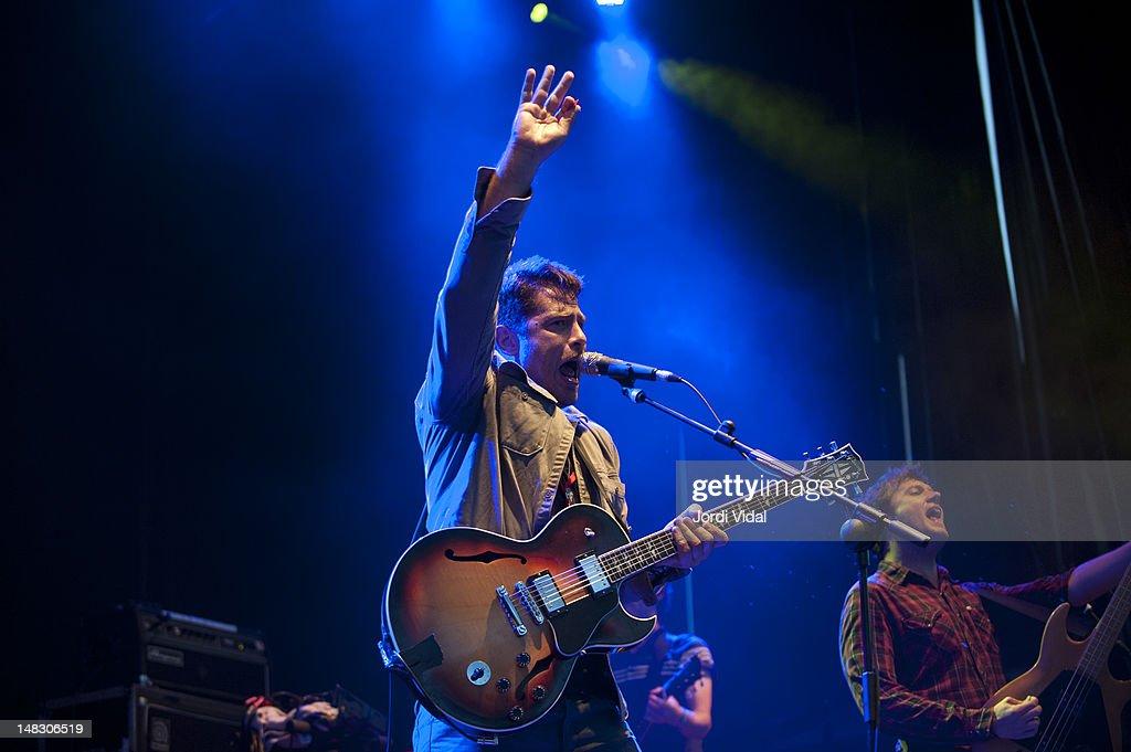 Billy McCarthy of We Are Augustines performs on stage during BBK Live at Kobetamendi on July 13, 2012 in Bilbao, Spain.