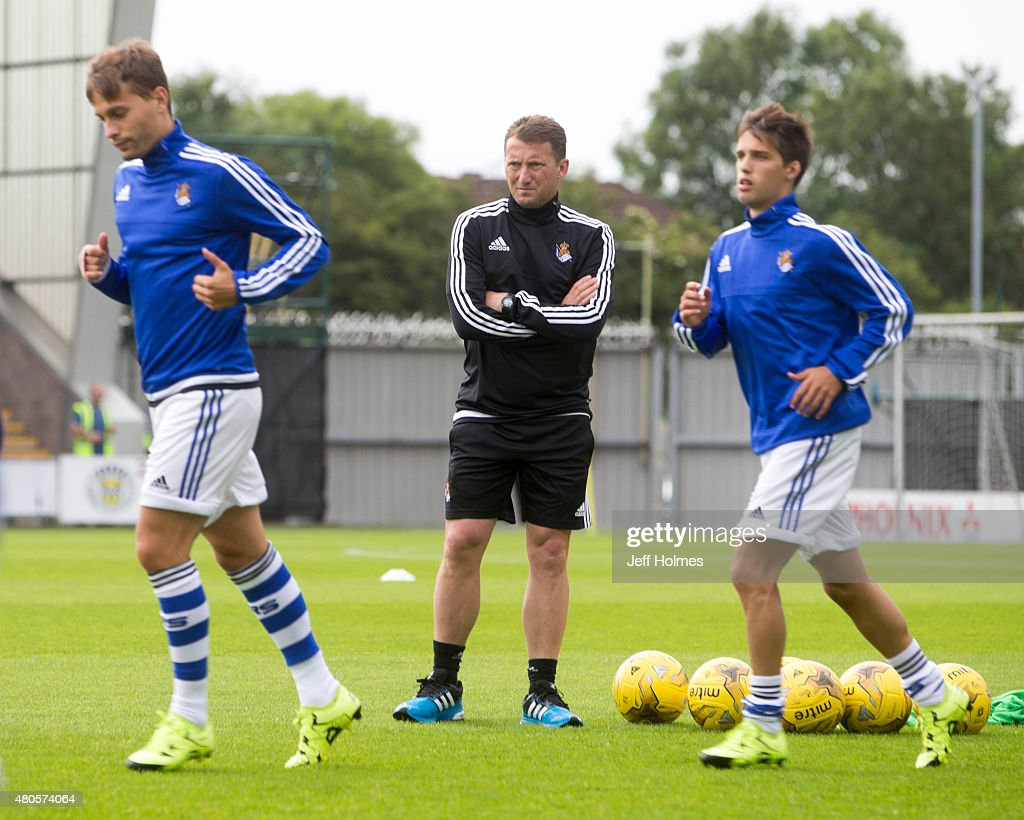 <a gi-track='captionPersonalityLinkClicked' href=/galleries/search?phrase=Billy+McKinlay&family=editorial&specificpeople=2992598 ng-click='$event.stopPropagation()'>Billy McKinlay</a> coach of Real Sociedad at the Pre Season Friendly between Celtic and Real Sociedad at St Mirren Park on July 10th, 2015 in Paisley, Scotland.
