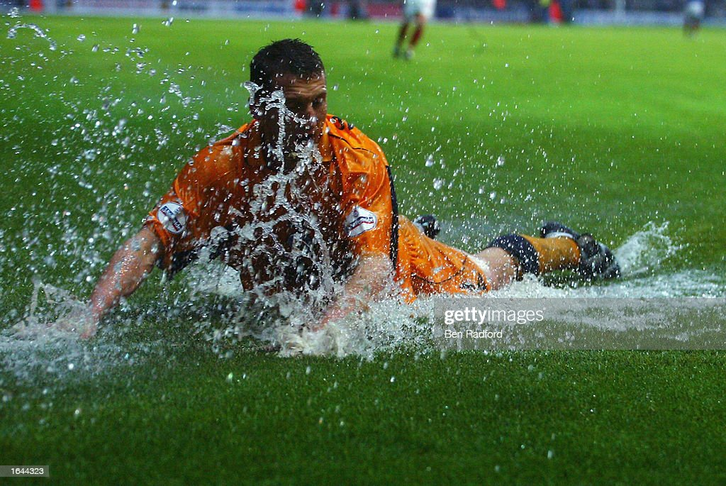 Billy McKinlay of Leicester City goes for a quick swim during the Nationwide League Division One match between Portsmouth and Leicester City held on November 2, 2002 at Fratton Park, in Portsmouth, England. Leicester City won the match 2-0. DIGITAL