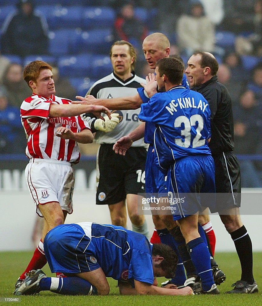 Billy McKinlay of Leicester City grabs James O'Connor of Stoke as tempers flare during the Nationwide First Division match between Leicester City and Stoke City on January 11, 2003 at the Walkers Stadium, Leicester, England.