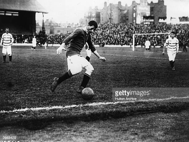 Billy Meredith of Manchester United in action during the first ever FA Charity Shield match against Queens Park Rangers Following a 11 draw United...