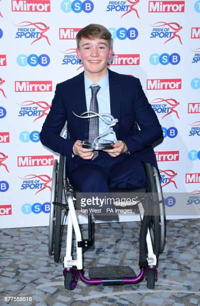 Billy Monger wins the Special Recognition Award at the Pride of Sport awards presented by Hannah Cockroft and Greg Rutherford at the Grosvenor House...