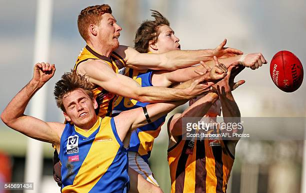 Billy Myers of Williamstown and Tim O'Brien of Box Hill compete for the ball during the round 14 VFL match between Box Hill and Williamstown at City...