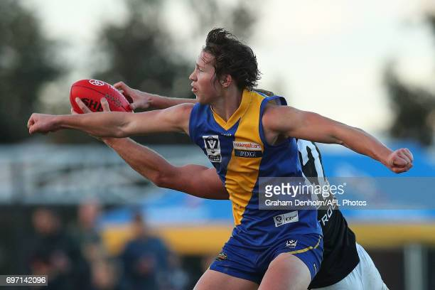 Billy Myers of Williamstown competes for the ball during the round nine VFL match between Williamstown and North Ballarat at Burbank Oval on June 18...