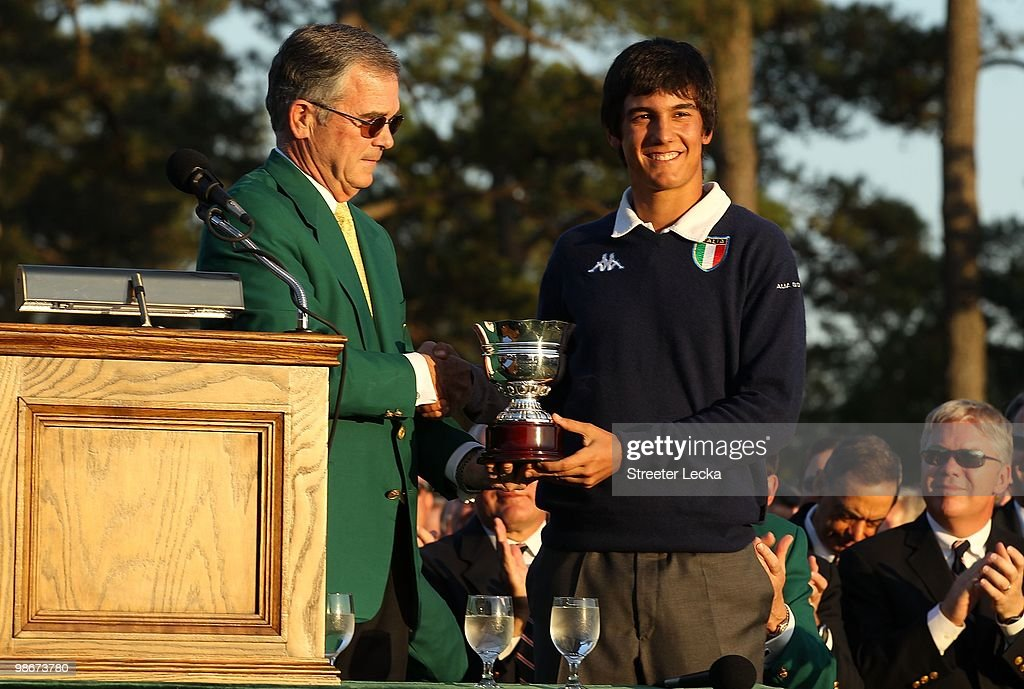 Billy Payne and Matteo Manassero during the final round of the 2010 Masters Tournament at Augusta National Golf Club on April 11, 2010 in Augusta, Georgia.