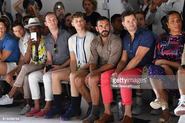 Billy Porter a guest Tommy Dorfman Matthew Risch Andrew Rennells and Lina Bradford attend the Parke Ronen Spring 2018 show on July 12 2017 in New...