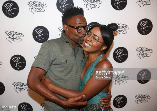 Billy Porter and Adrienne Warren pose at the Native Ken Eyewear NYC Launch Party at Native Ken on July 20 2017 in New York City