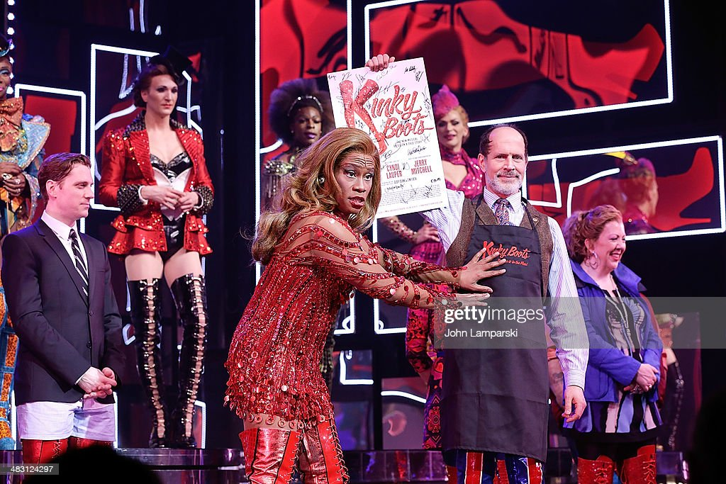 <a gi-track='captionPersonalityLinkClicked' href=/galleries/search?phrase=Billy+Porter&family=editorial&specificpeople=787592 ng-click='$event.stopPropagation()'>Billy Porter</a> and Andy Kelso perform at the 'Kinky Boots' one year anniversary on Broadway at The Hirshfeld Theatre on April 6, 2014 in New York City.