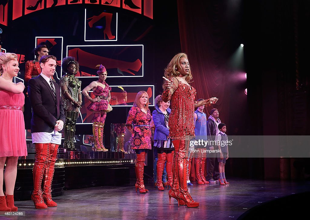 <a gi-track='captionPersonalityLinkClicked' href=/galleries/search?phrase=Billy+Porter&family=editorial&specificpeople=787592 ng-click='$event.stopPropagation()'>Billy Porter</a>, Andy Kelso and cast perform at the 'Kinky Boots' one year anniversary on Broadway at The Hirshfeld Theatre on April 6, 2014 in New York City.
