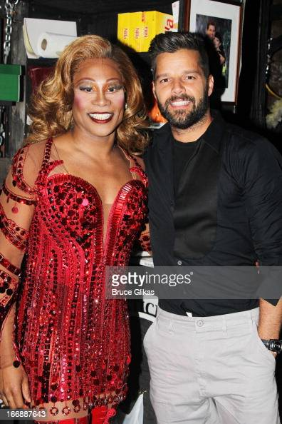 Billy Porter as 'Lola' and Ricky Martin pose backstage at the hit musical 'Kinky Boots' on Broadway at The Al Hirshfeld Theater on April 17 2013 in...