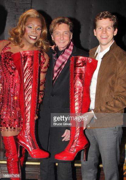 Billy Porter as 'Lola' Barry Manilow and Stark Sands as 'Charlie' pose backstage at the hit musical 'Kinky Boots' on Broadway at The Al Hirshfeld...