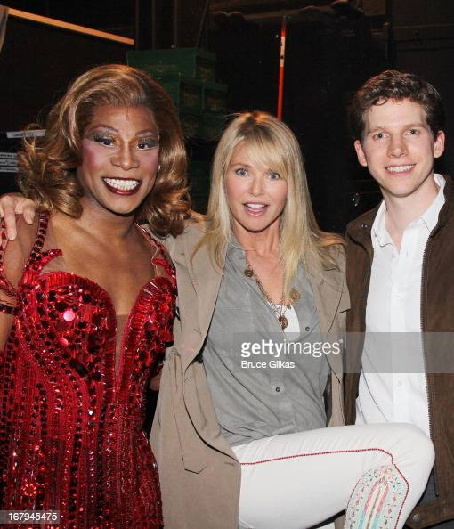 Billy Porter as 'Lola' Christie Brinkley and Stark Sands as 'Charlie' pose backstage at the hit Tony Nominated musical 'Kinky Boots' on Broadway at...