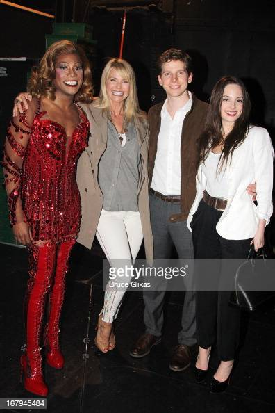 Billy Porter as 'Lola' Christie Brinkley Stark Sands as 'Charlie' and Alexa Ray Joel pose backstage at the hit Tony Nominated musical 'Kinky Boots'...