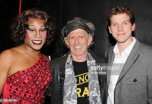 Billy Porter as 'Lola' Keith Richards and Stark Sands as 'Charlie' pose backstage at the hit musical 'Kinky Boots' on Broadway at The Al Hirshfeld...