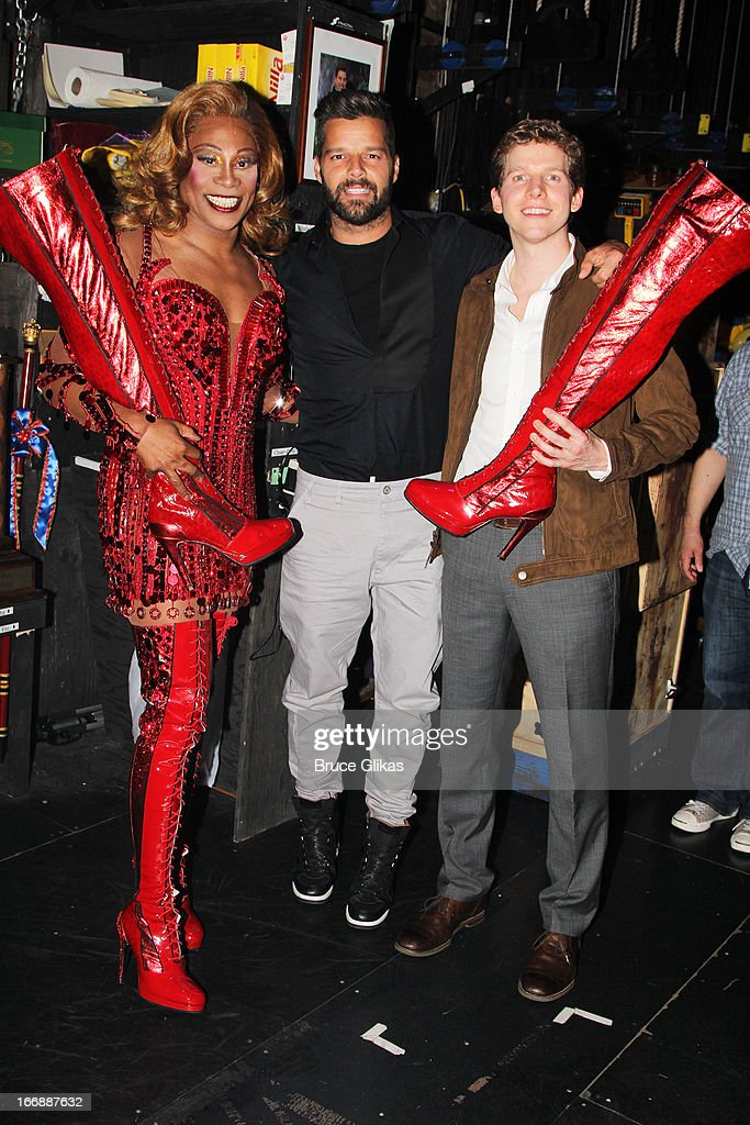 Billy Porter as 'Lola', Ricky Martin and Stark Sands as 'Charlie' pose backstage at the hit musical 'Kinky Boots' on Broadway at The Al Hirshfeld Theater on April 17, 2013 in New York City.