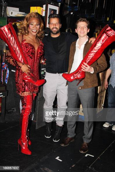 Billy Porter as 'Lola' Ricky Martin and Stark Sands as 'Charlie' pose backstage at the hit musical 'Kinky Boots' on Broadway at The Al Hirshfeld...