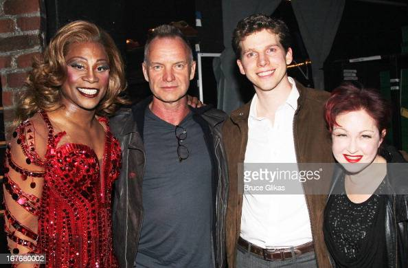 Billy Porter as 'Lola' Sting Stark Sands and Cyndi Lauper pose backstage at the hit musical 'Kinky Boots' on Broadway at The Al Hirshfeld Theater on...