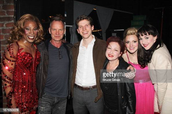 Billy Porter as 'Lola' Sting Stark Sands Cyndi Lauper Annaleigh Ashford and Celina Carvajal pose backstage at the hit musical 'Kinky Boots' on...
