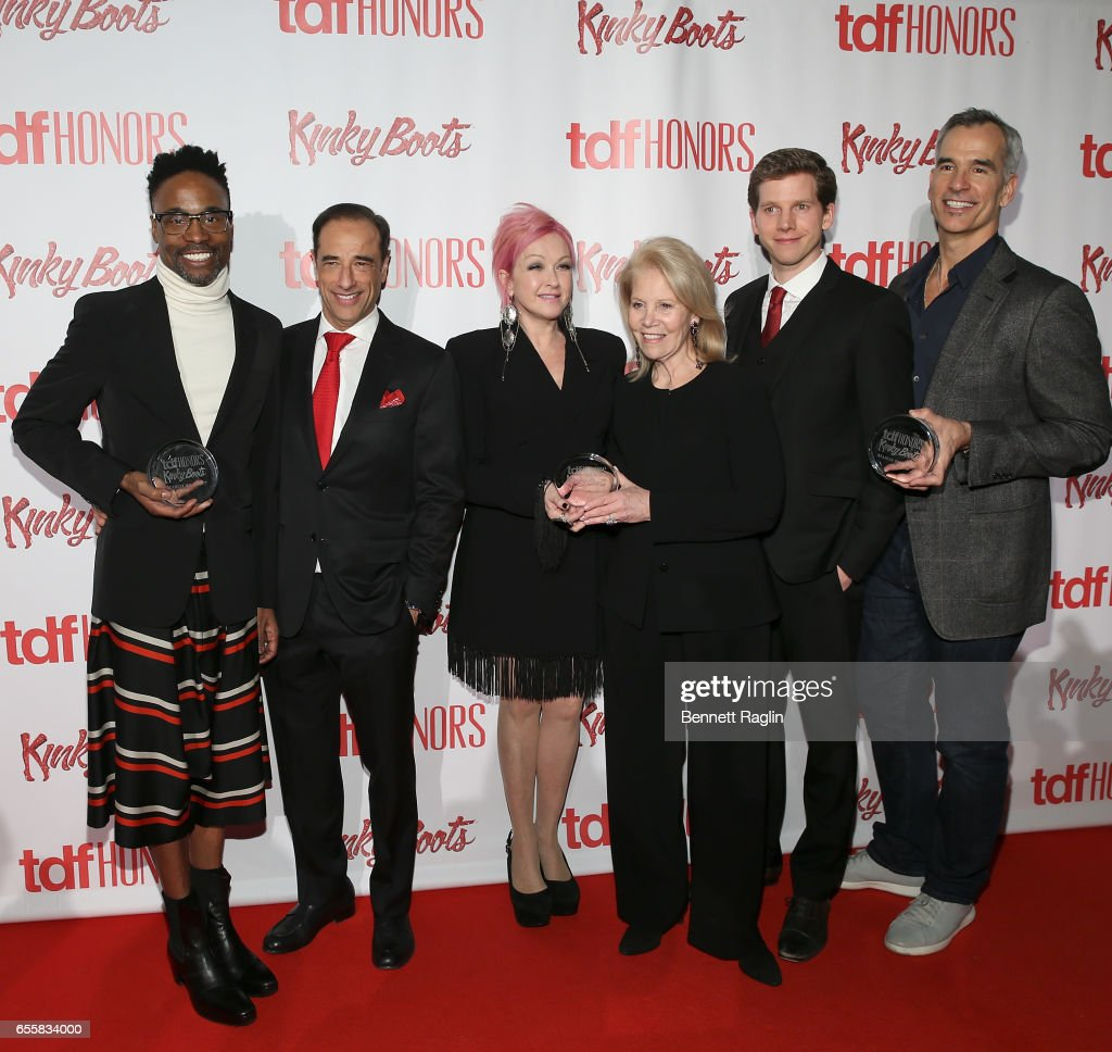 Billy Porter, Hal Luftig, Cyndi Lauper, Daryl Roth, Stark Sands, and Jerry Mitchell attend the TDF Honors Broadway's 'Kinky Boots' - Reception at Marriott Marquis Times Square on March 20, 2017 in New York City.