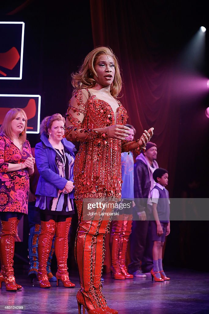 <a gi-track='captionPersonalityLinkClicked' href=/galleries/search?phrase=Billy+Porter&family=editorial&specificpeople=787592 ng-click='$event.stopPropagation()'>Billy Porter</a> performs at the 'Kinky Boots' one year anniversary on Broadway at The Hirshfeld Theatre on April 6, 2014 in New York City.