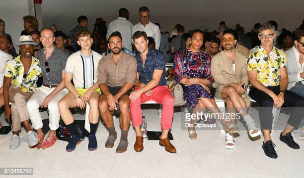 Billy porter Tommy Dorfman Matthew Risch Andrew Rannells Lina Bradford Claudio Albano and Eric Rutherford attend the Parke Ronen Spring 2018 show on...