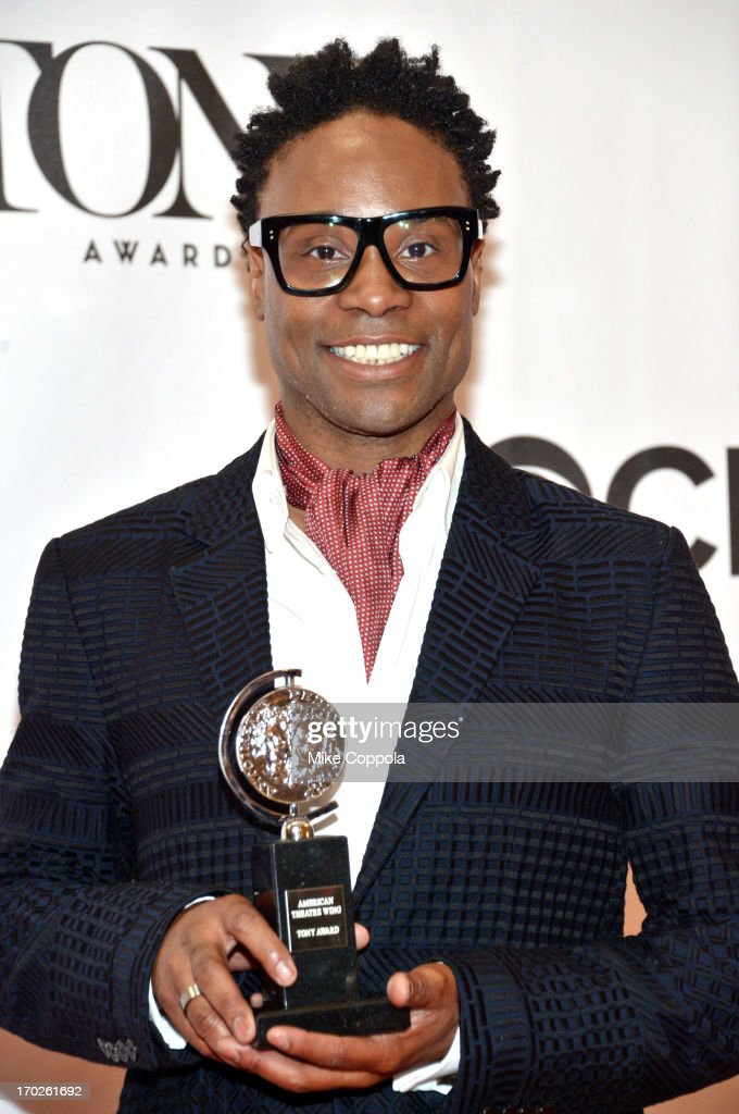 <a gi-track='captionPersonalityLinkClicked' href=/galleries/search?phrase=Billy+Porter&family=editorial&specificpeople=787592 ng-click='$event.stopPropagation()'>Billy Porter</a>, winner of the Tony Award for Best Performance by an Actor in a Leading Role in a Musical for 'Kinky Boots,' poses in the press room at The 67th Annual Tony Awards at Radio City Music Hall on June 9, 2013 in New York City.