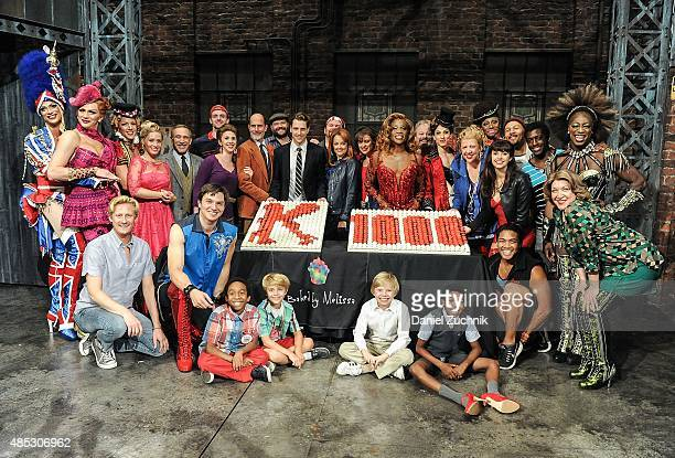 Billy Porter with the cast of Kinky Boots pose as 'Kinky Boots' celebrates 1000 performances on Broadway at Al Hirschfeld Theatre on August 26 2015...