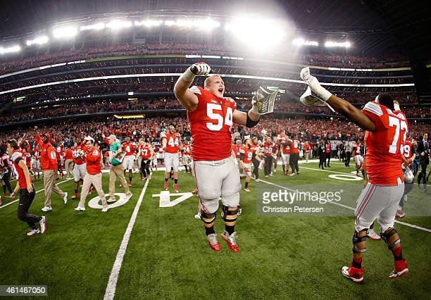 Billy Price of the Ohio State Buckeyes celebrates after defeating the Oregon Ducks 42 to 20 in the College Football Playoff National Championship...