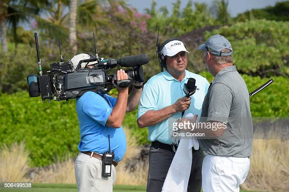 KA'UPULEHUKONA HI JANUARY 23 Billy Ray Brown of the Golf Channel interviews Duffy Waldorf on the 8th tee during the final round of the PGA TOUR...