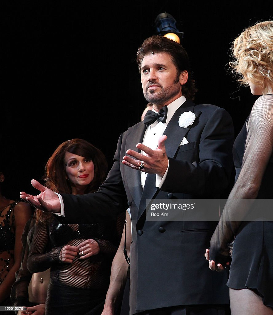 Billy Ray Cyrus (C) attends opening night curtain call for Billy Ray Cyrus' Broadway stage debut as Billy Flynn in 'Chicago' at the Ambassador Theatre on November 5, 2012 in New York City.