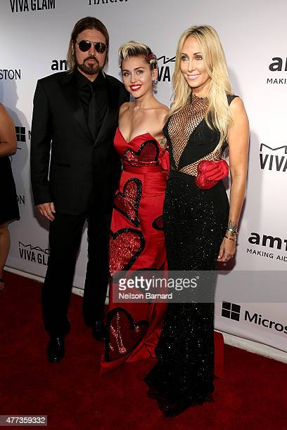 Billy Ray Cyrus Miley Cyrus and Tish Cyrus attend the 2015 amfAR Inspiration Gala New York at Spring Studios on June 16 2015 in New York City