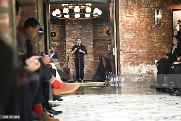 Billy Reid walks the runway at Billy Reid Front Row NYFW Men's at The Cellar at The Beekman on January 30 2017 in New York City