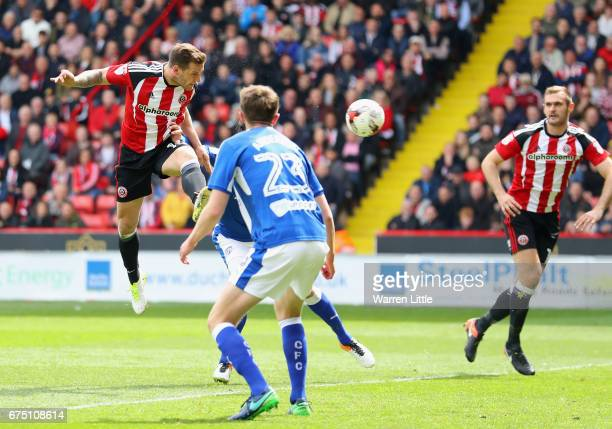 Billy Sharp Captain of Sheffield United scores the second goal during the Sky Bet League One match between Sheffield United and Chesterfield at...