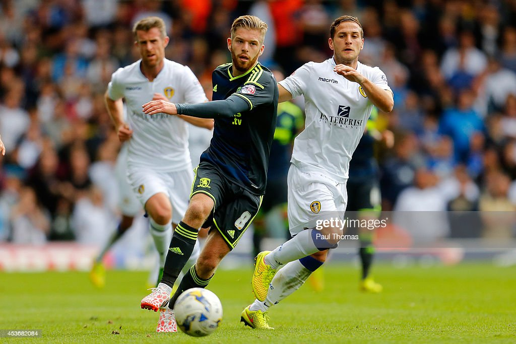 Billy Sharp (R) of Leeds in action with Adam Clayton of Middlesbrough during the Sky Bet Championship match between Leeds United and Middlesbrough at Elland Road on August 16, 2014 in Leeds, England.