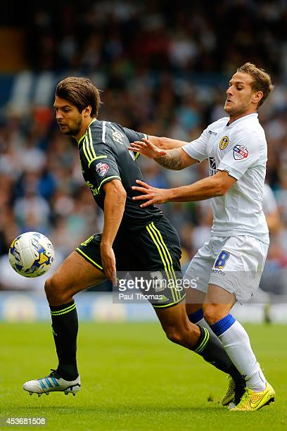 Billy Sharp of Leeds in action with George Friend of Middlesbrough during the Sky Bet Championship match between Leeds United and Middlesbrough at...