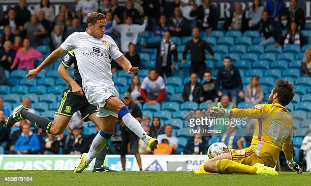 Billy Sharp of Leeds scores his sides first goal during the Sky Bet Championship match between Leeds United and Middlesbrough at Elland Road on...
